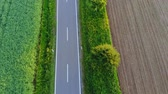 repülés : Aerial drone flight over a street in the nature