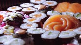 soy sauce : Fresh Sushi rolls- close up shot Stock Footage