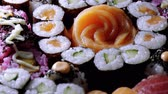 にぎり : Fresh Sushi rolls- close up shot 動画素材