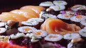 somon : Close up shot of fresh Sushi on a plate Stok Video