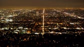 hollywood sign : Time lapse of Los Angeles by night - aerial view Stock Footage