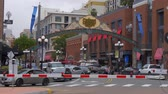 컨벤션 : Historic Heart of San Diego - the Gaslamp district - CALIFORNIA, USA - MARCH 18, 2019 무비클립