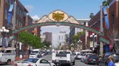 Gaslamp Quarter in San Diego Downtown - CALIFORNIA, USA - MARCH 18, 2019