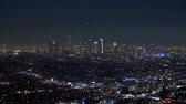 hollywood sign : The citylights of Los Angeles by night - aerial view