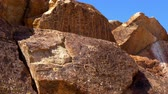 tableland : Spectacular Native American Petroglyohs at Chalfant Valley Stock Footage