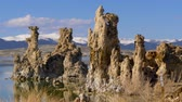 bizarro : Tufa towers columns of limestone at Mono Lake Stock Footage