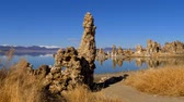szórakozási : Tufa towers columns of limestone at Mono Lake Stock mozgókép