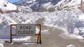 eastern sierra : Road closed due to mass of snow Stock Footage