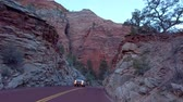 desert southwest : Driving through Zion Canyon National Park in Utah - travel photography Stock Footage