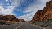 el değmemiş : Road trip at Snow Canyon in Utah Stok Video