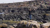 basalto : The typical rock formations of Giants Causeway in Northern Ireland