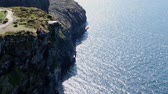 castello : Aerial view over the famous Cliffs of Moher in Ireland Filmati Stock