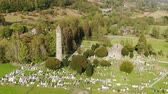 brochura : Drone flight over Glendalough - the famous landmark in Ireland