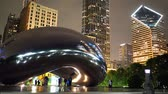 Chicago by night - Cloud Gate at Millennium Park - CHICAGO, USA - JUNE 20, 2019