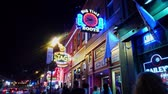 Colorful Nashville Broadway at night - a big party zone - NASHVILLE, USA - JUNE 16, 2019