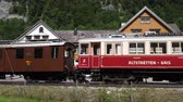 Historical train in the Swiss Alps - SWISS ALPS, SWITZERLAND - JULY 20, 2019