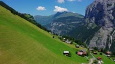 arsa : Wonderful nature of Switzerland - the Swiss Alps from above Stok Video