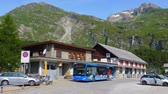 Pablic transport at Maloja in Engadin Switzerland - SWISS ALPS, SWITZERLAND - JULY 20, 2019