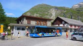 スイス : Pablic transport at Maloja in Engadin Switzerland - SWISS ALPS, SWITZERLAND - JULY 20, 2019