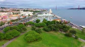 castello : Lisbon from above aerial view over Belem and Tagus River Filmati Stock