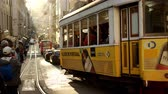 lisszabon : Typical street view in the historic city of Lisbon with the famous tram