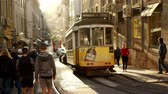 lisszabon : The famous old trams in the city of Lisbon