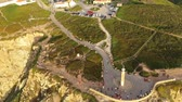 точка зрения : Cape Roca at Sintra Natural Park oceanfront - aerial view Стоковые видеозаписи