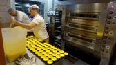 ускорять : Bakery in Lisbon making the famous cream tarts called Pasteis de Nata - CITY OF LISBON, PORTUGAL - NOVEMBER 5, 2019