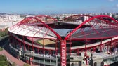 game field : Aerial view over Benfica Lisbon soccer stadium - CITY OF LISBON, PORTUGAL - NOVEMBER 5, 2019 Stock Footage