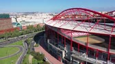 ulusal bayrağı : Aerial flight along the Benfica Lisbon soccer stadium called Estadio da Luz - CITY OF LISBON, PORTUGAL - NOVEMBER 5, 2019