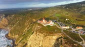 lisbona : The lighthouse of Cape Roca in Portugal called Cabo da Roca - aerial view