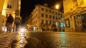 tarihi : City of Lisbon by night - timelapse shot Stok Video