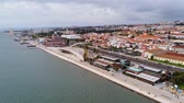 avril : Aerial view over Tagus riverwalk promenade at River Tejo in Lisbon