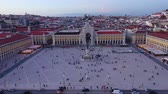 彫刻 : Commerce Square in Lisbon called Praca do Comercio - the central market square in the evening - aerial view