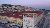 lisbona : Commerce Square in Lisbon called Praca do Comercio - the central market square in the evening - aerial view