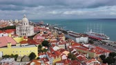 tarihi : Aerial view over the historic Alfama district of Lisbon Stok Video