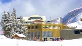 snowfall : Engelberg-Titlis mountain station of the cable car - ENGELBERG, SWISS ALPS - FEBRUARY 5. 2020