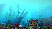 Aquarium underwater scene. Flooded ship, treasure chest. 3d rendering.