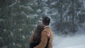 vestido de noiva : Couple Hugging in the Snow 2 Stock Footage