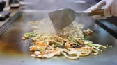 japanese grill teppanyaki, fried noodle Stock Footage