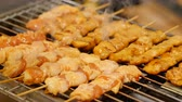 grilled chicken skewers, asian bbq street food