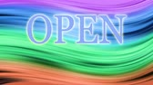 aviso : Writing Open is blinking, Background changes in colors throughout the spectrum, Seamless Loop,