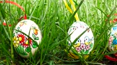 eggshells : Painted Easter eggs in the grass. Panning.