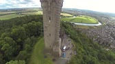 battlements : Two scenes of camera flying over William Wallce monument in Stirling (near Stirling castle).