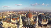 landmark : Camera flying above Hungarian parliament in Budapest