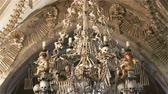 остатки : Czech Republic. Kutna Hora. Skulls and bones in the ossuary in Kutna Hora Стоковые видеозаписи