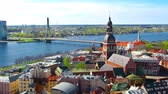 riga : Aerial view of the center of Riga. Peter, Latvia. time-lapse