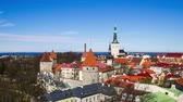 görme : Beautiful architecture of the old town of Tallinn Estonia. TimeLapse