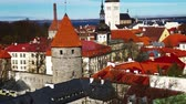 görme : Beautiful architecture of the old town of Tallinn Estonia Stok Video