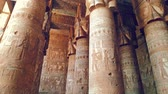 резной : Beautiful interior of the Temple of Dendera or the Temple of Hathor. Egypt, Dendera, Ancient Egyptian temple near the city of Ken Стоковые видеозаписи